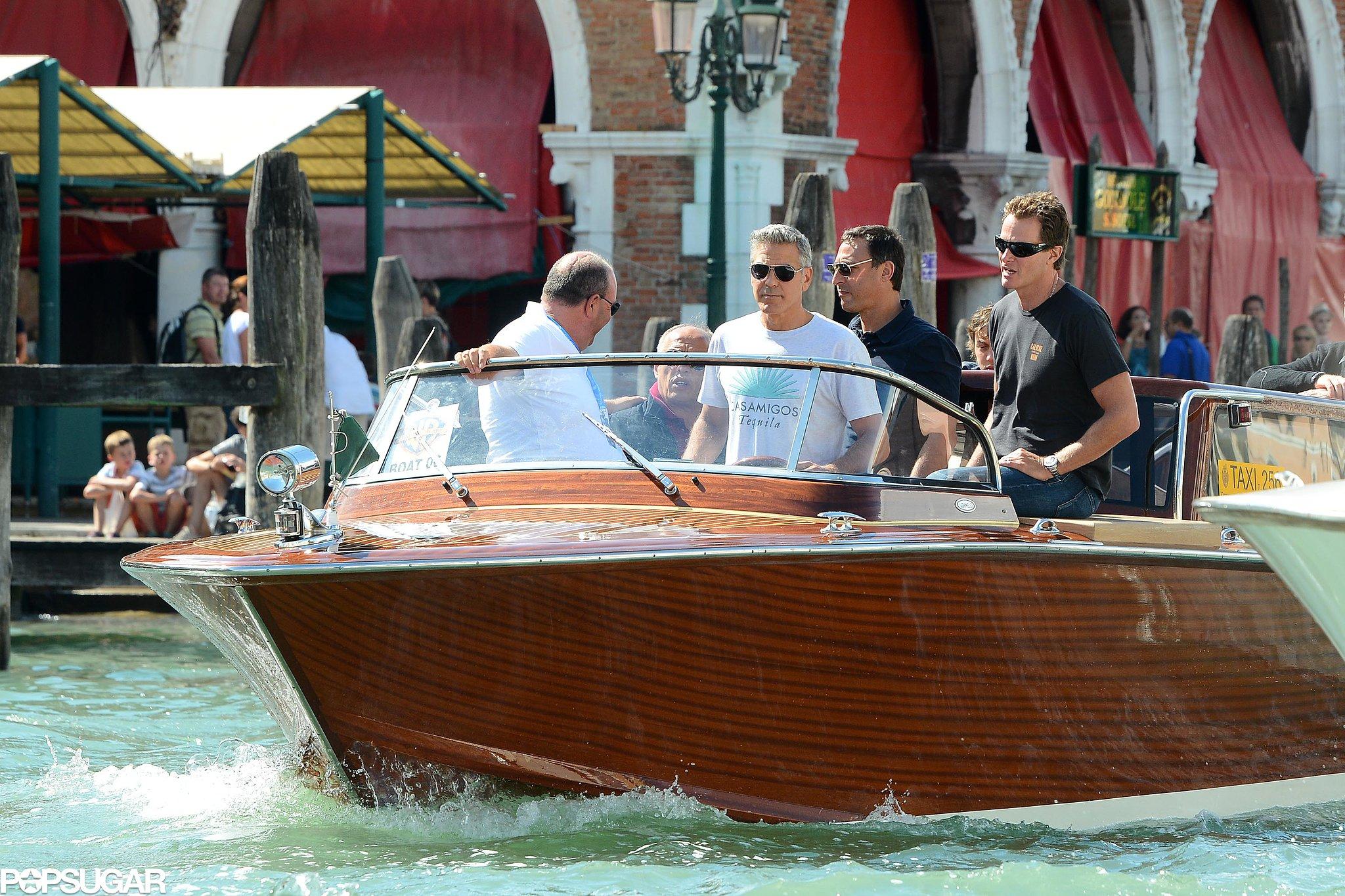 Sandra Bullock and George Clooney Cruise Into Venice