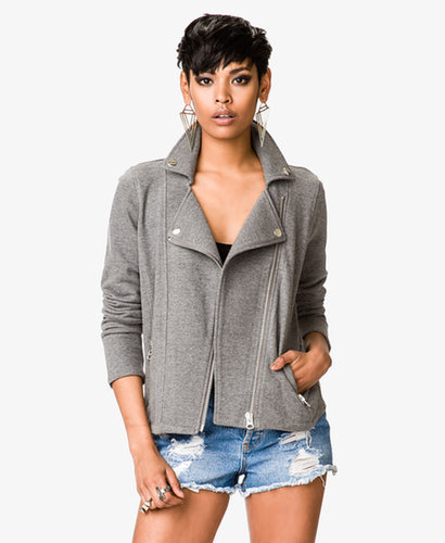 FOREVER 21 No-Fuss Knit Moto Jacket