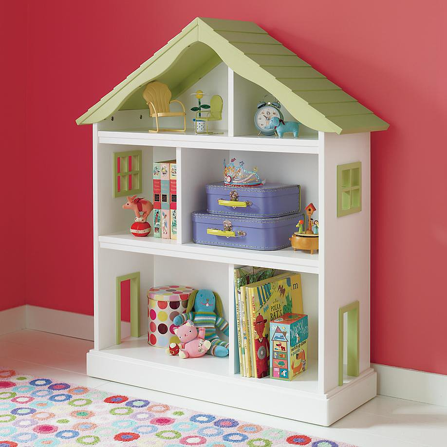 Here's a charming Land of Nod dollhouse bookcase ($299) that's perfect for any sweet girl's room. Use sections for storing books and others for enjoying a bit of dollhouse imaginary play. It includes a restraining kit for securing the bookshelf to the wall, which will prevent tipping.