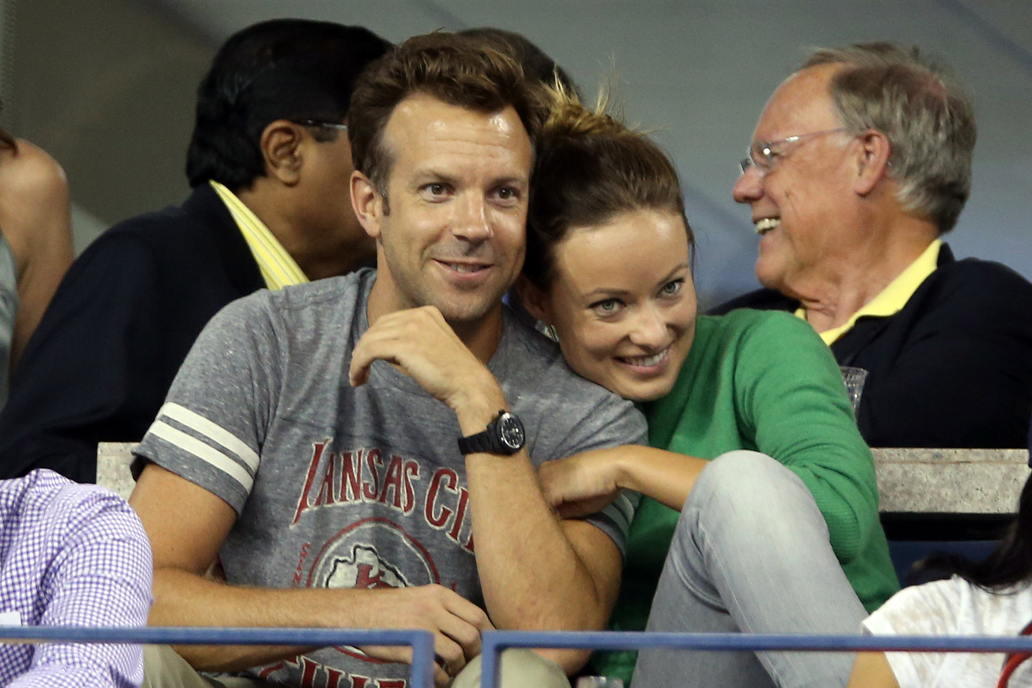 Jason Sudeikis and Olivia Wilde showed sweet PDA in the stands.