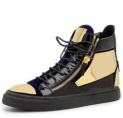 GIUSEPPE ZANOTTI GOLD DOUBLE ZIPPER SNEAKERS BLACK