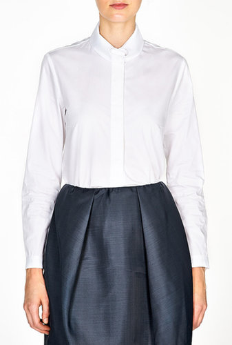 Carven Button Down Heart Collar Poplin Shirt
