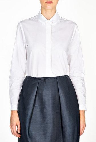 Carven Button Down Heart Collar Poplin Shirt