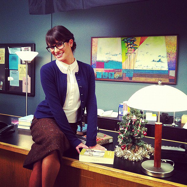 She played the sexy secretary on set and shared this cute photo with fans in November 2012. Source: Instagram user msleamichele