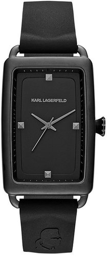 KARL LAGERFELD 'Kourbe' Rectangular Watch, 32mm x 48mm Black One Size