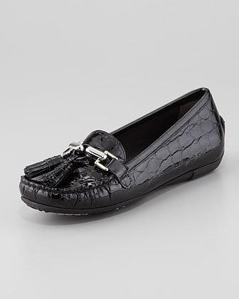 Stuart Weitzman Rascal Patent Crocodile-Embossed Tassel Loafer, Black