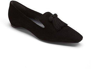 Stuart Weitzman 'Tasstrio' Loafer Black Suede 7 M
