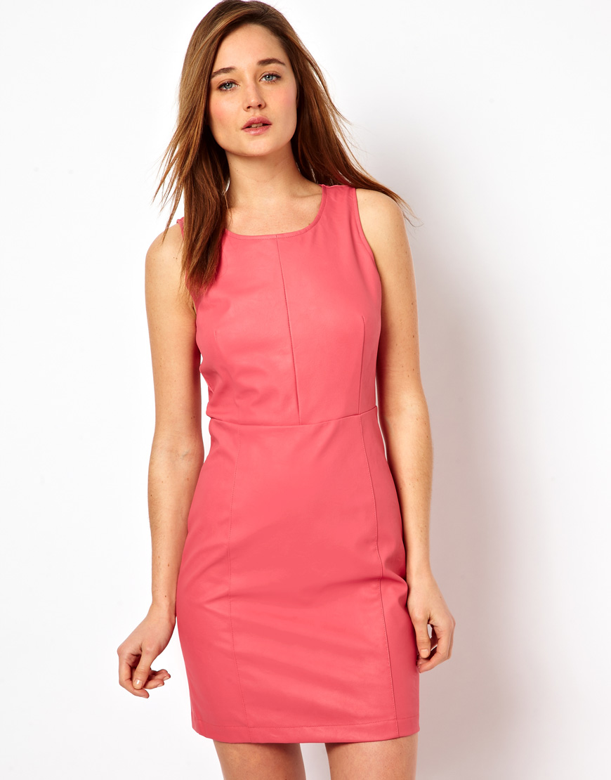 All leather isn't rough and tough in black; this bubblegum pink Asos shift ($30, originally $64) is sweet but chic.