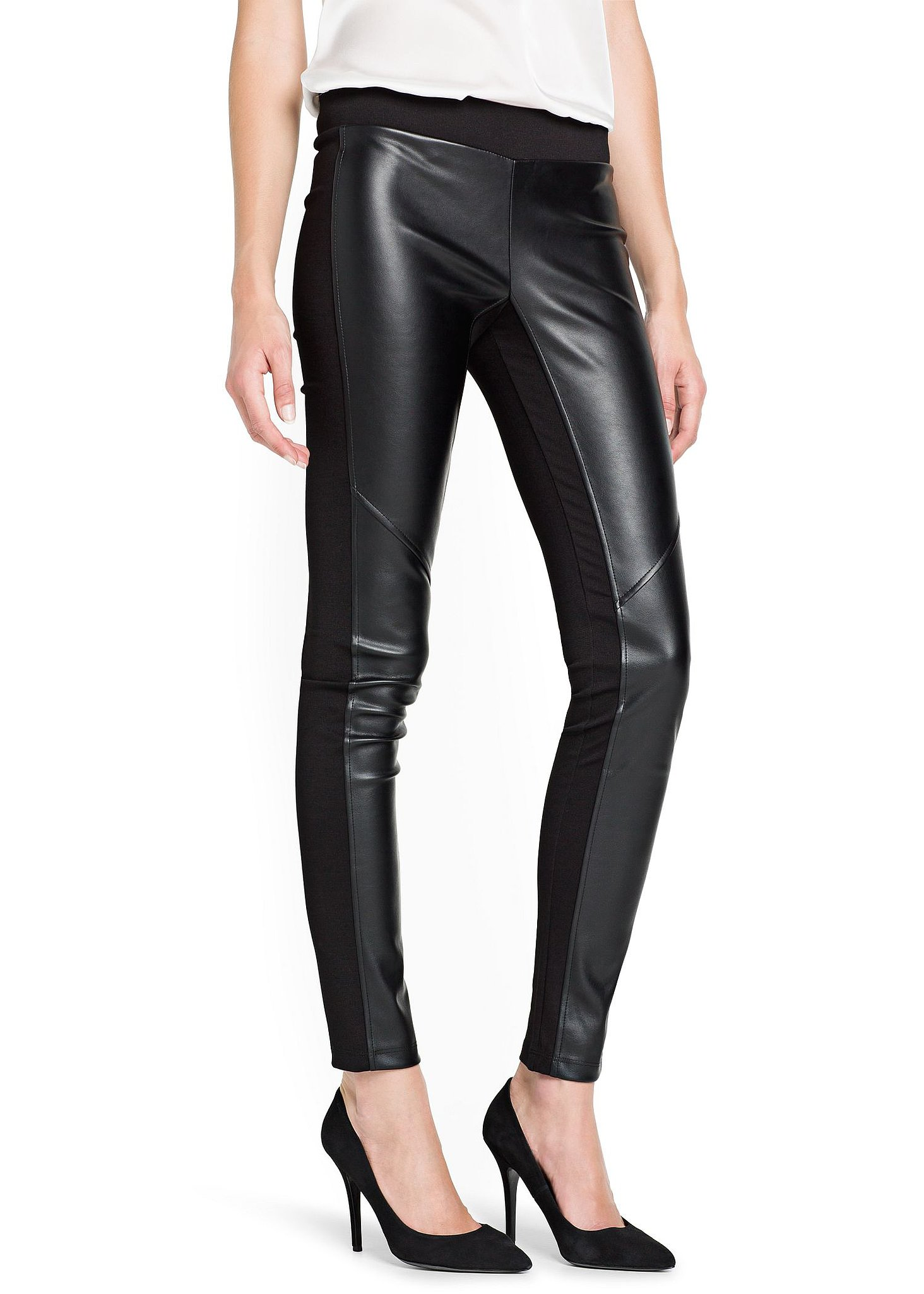 Worried that leather leggings won't be comfortable? Try Mango's paneled pair ($45) that has a softer fabric in