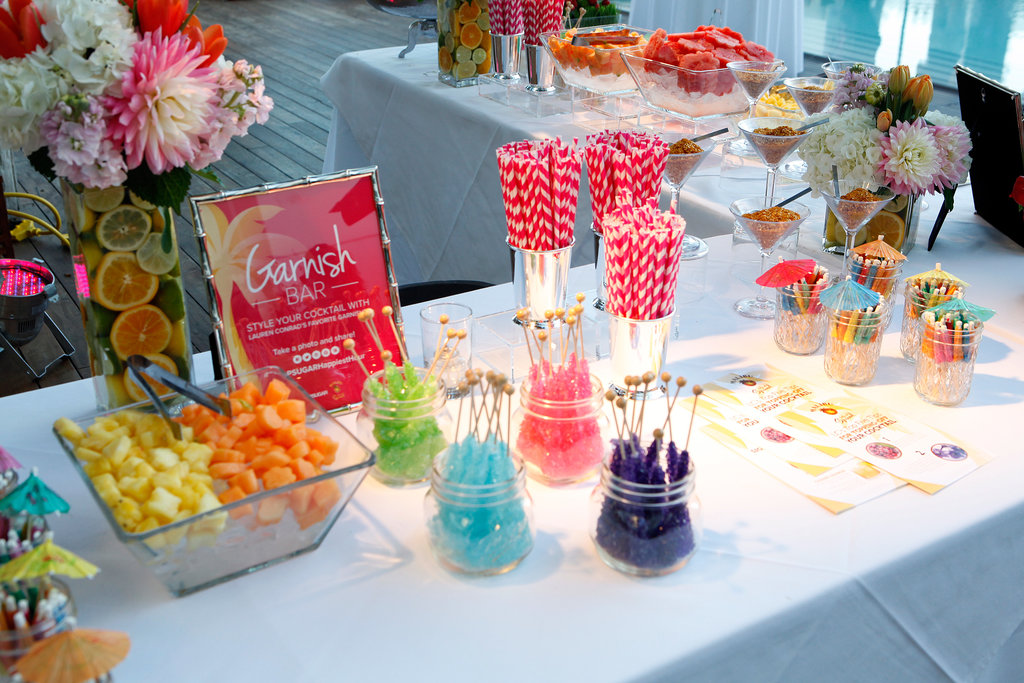 Rock candy, fruit, and paper umbrellas were just a few of the drink toppers on hand.