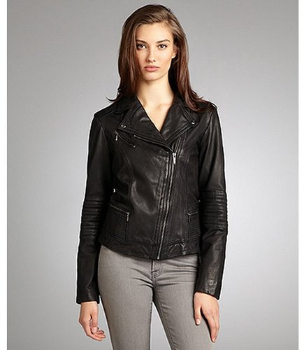 Cole Haan black leather asymmetrical zip front moto jacket