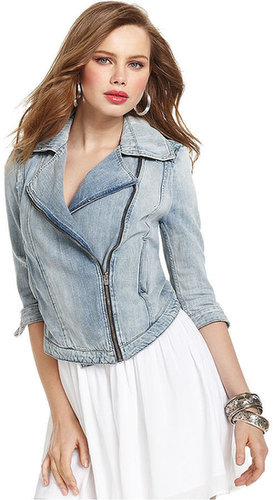 GUESS Jacket, Three-Quarter Light-Wash Denim Embroidered Motorcycle