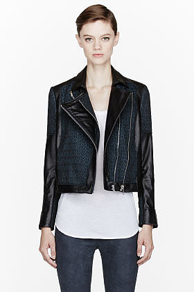 HELMUT LANG Green crosshatched Leather Biker Jacket
