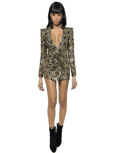 Lurex And Silk Twill Jacquard Dress