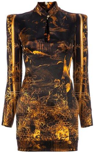 Balmain Oriental print structured dress