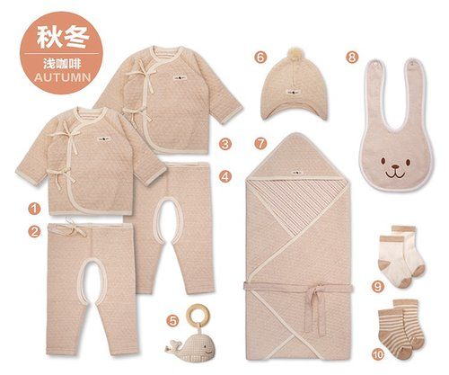 Organic Cotton Newborn Baby 10 Pieces of Gift Set