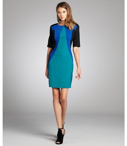 Julia Jordan Black, Teal And Blue Crepe Colorblock Stretch Knit Dress