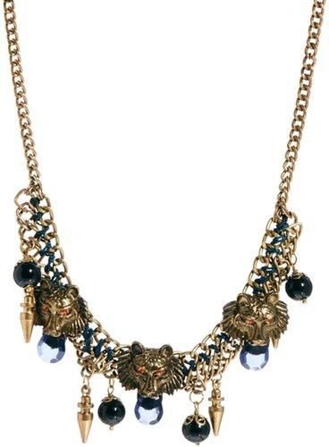 Kasturjewels Lion Head Inspired Statement Necklace With Charms