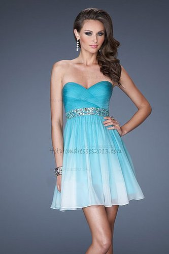 Aqua A Line Strapless Mini Length Homecoming Dresses