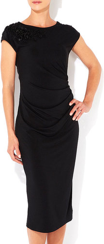 Black Cowl Back Midi Dress