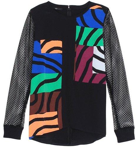 Zebra Maze Mesh Sleeve Top