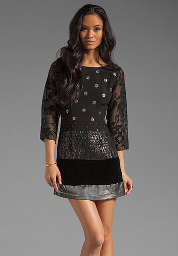 Tracy Reese Dreaming Cocktail Mix 3/4 Shift Dress in Black/Gunmetal