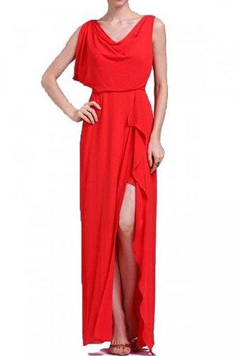 BCBG FRAN ASYMMETRICAL DRAPED DRESS RED