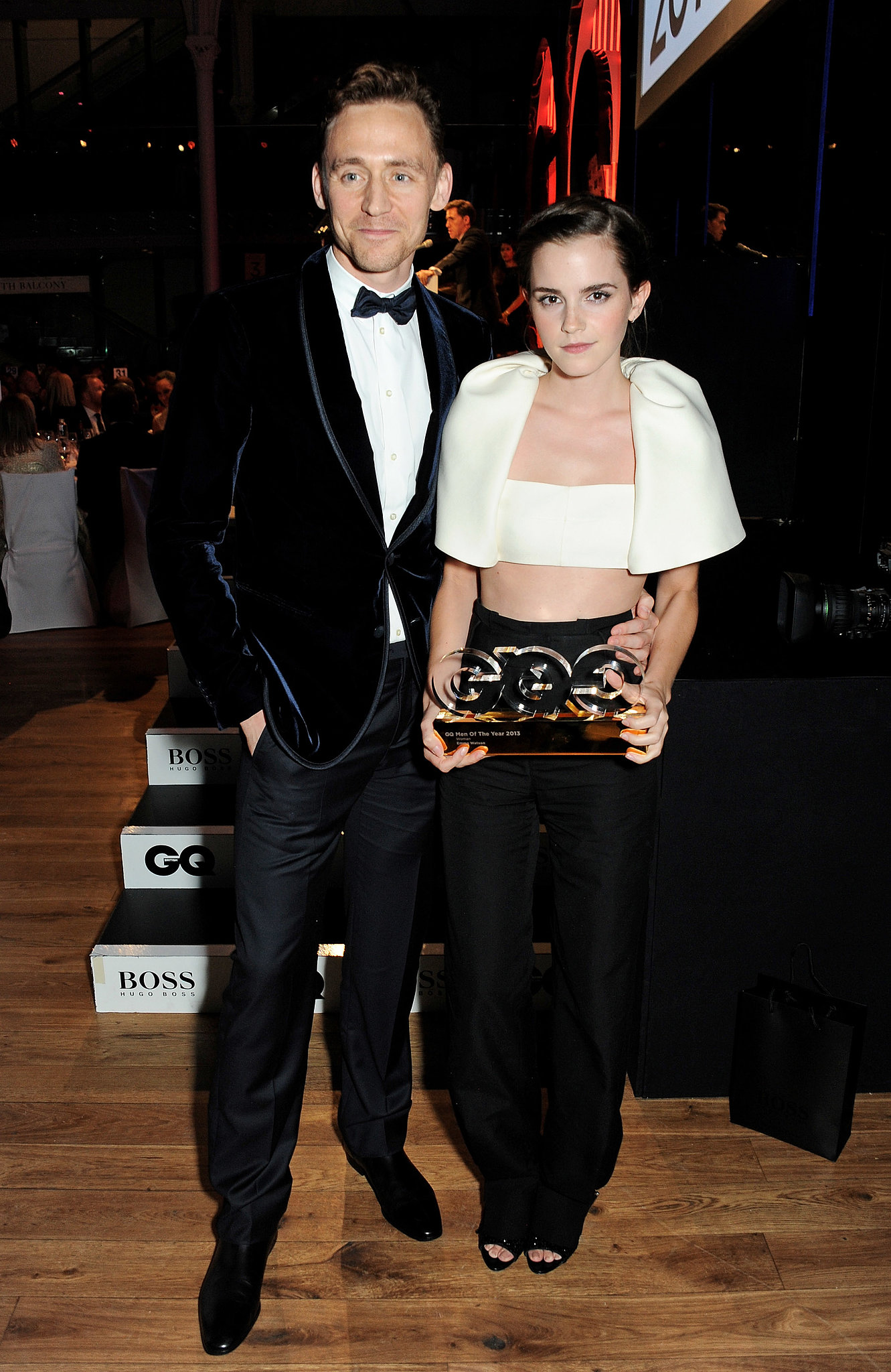 Emma Watson posed with her award alongside Tom Hiddleston.