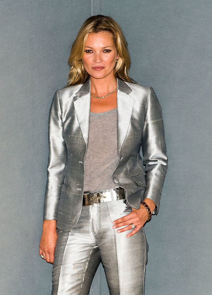 Kate Moss wore a silver pantsuit.
