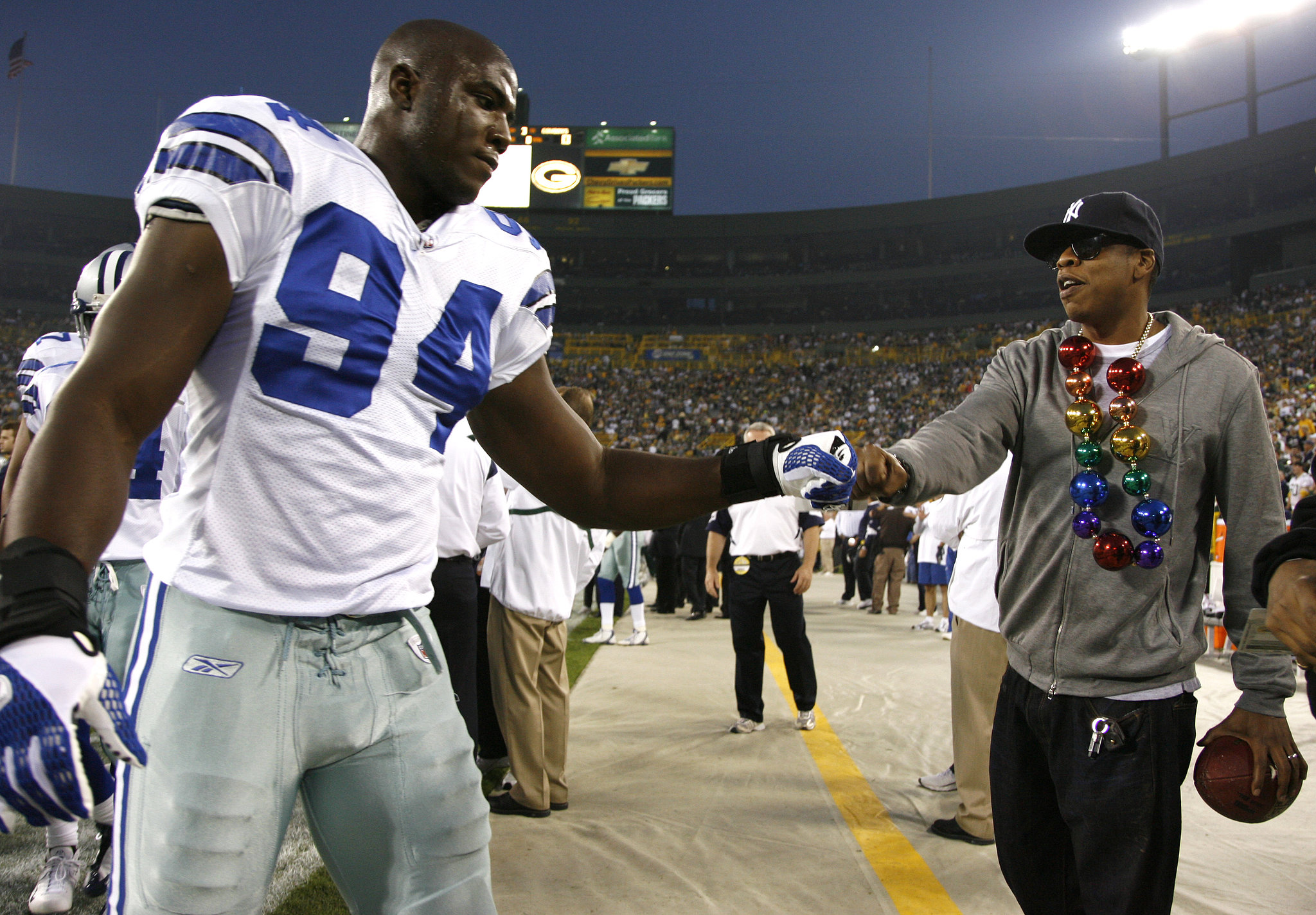 Jay Z hung out on the field before a Dallas Cowboys game in September 2008.
