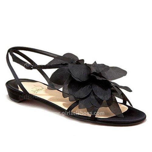 Petal Crepe Satin Christian Louboutin Sandals Black