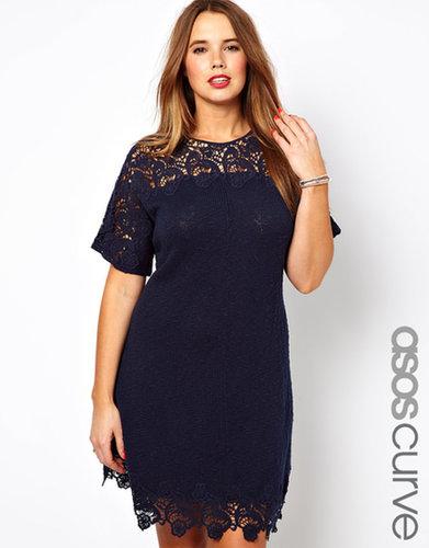 ASOS CURVE Lace Detail Slub Dress