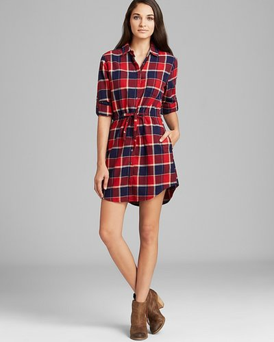 JACHS Girlfriend Shirt Dress - Eda Plaid Tie Waist