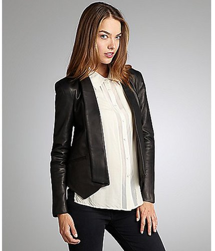 Rebecca Minkoff black lambskin 'Becky' knit panel jacket