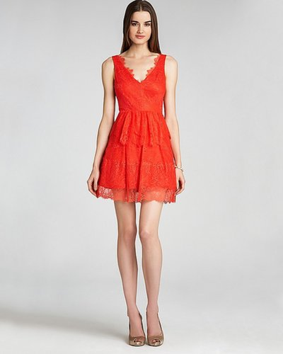 BCBGMAXAZRIA V Neck Lace Dress - Sleeveless
