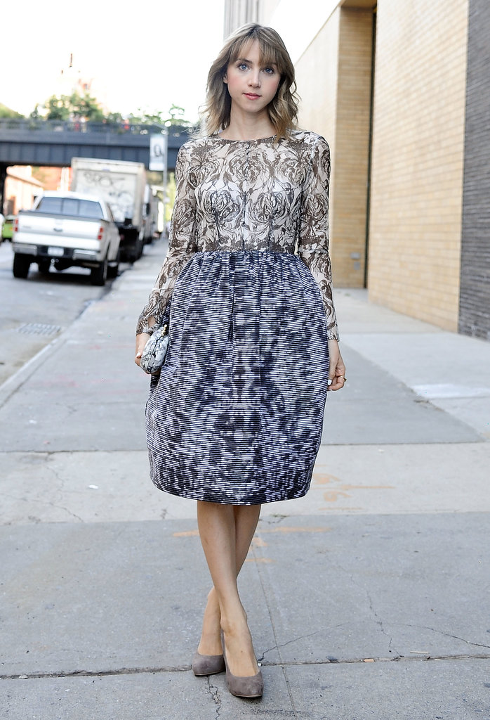 It would be almost impossible not to notice Zoe Kazan in her potent little print.