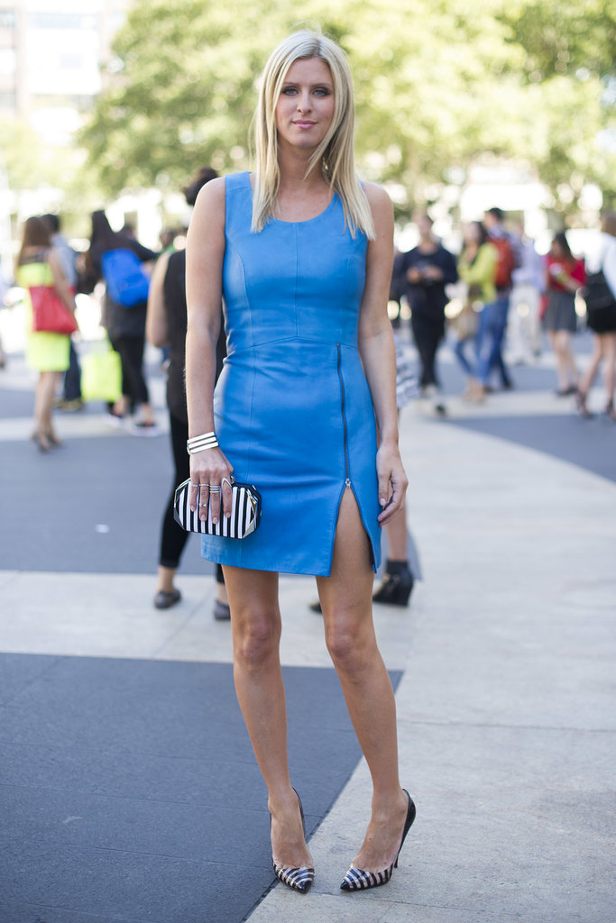 Nicky Hilton made an arrival in a little blue dress.