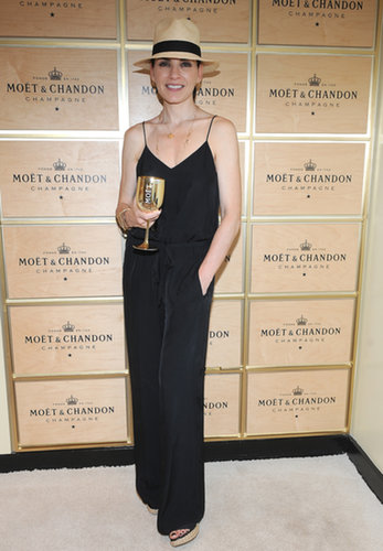 Julianna Margulies wore a sleek jumpsuit while hanging out in the Moet & Chandon Suite.