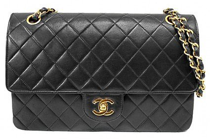 excellent (EX) Chanel Black Quilted Lambskin Classic Coco Double Flap Shoulder Bag