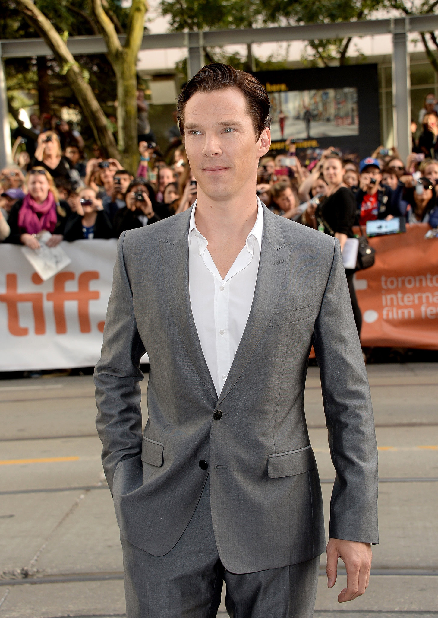 Benedict Cumberbatch showed up for the premiere of 12 Years a Slave.