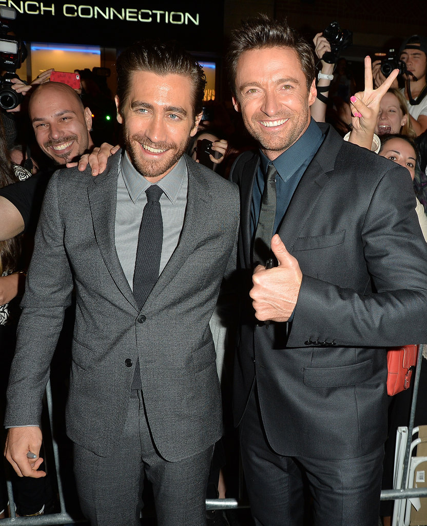 Jake Gyllenhaal and Hugh Jackman were all smiles on the red carpet at the Prisoners premiere.