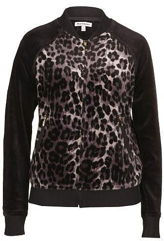 Juicy Couture Women's Bowie Dark Granite Grey Velour Bomber Jacket