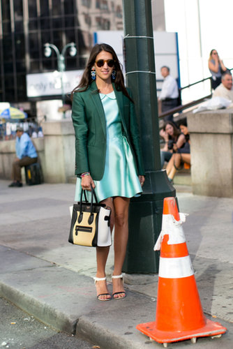 Dannijo's Jodie Snyder did green on green with a Céline bag in hand.