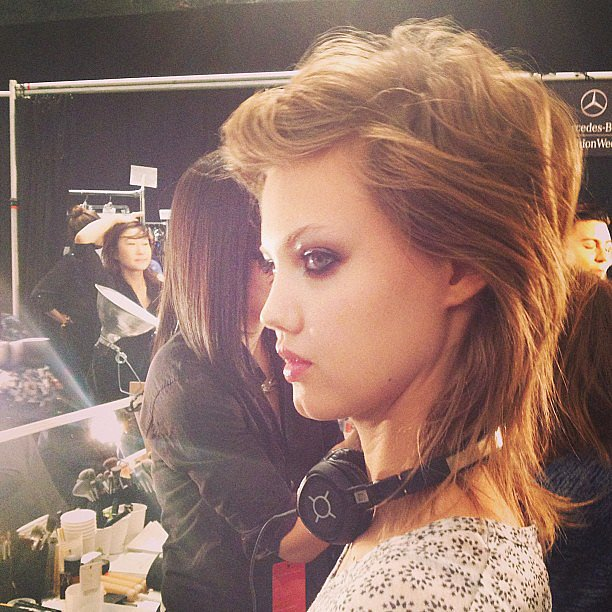Model Lindsey Wixson looked stunning backstage Jill Stuart, superearly call time and all.