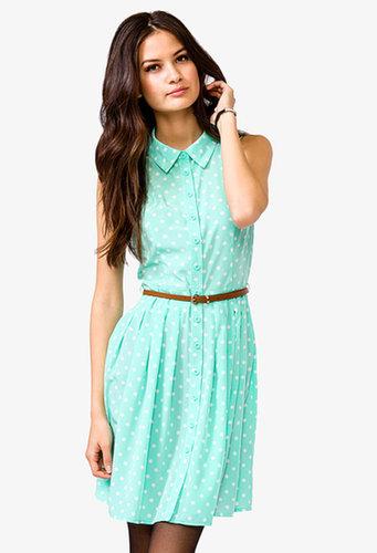 FOREVER 21 Belted Polka Dot Shirtdress