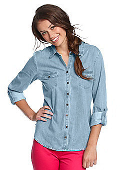 Fire® Juniors' Denim Buttondown Shirt