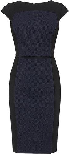 Black/blue Ponte Textured Block Dress