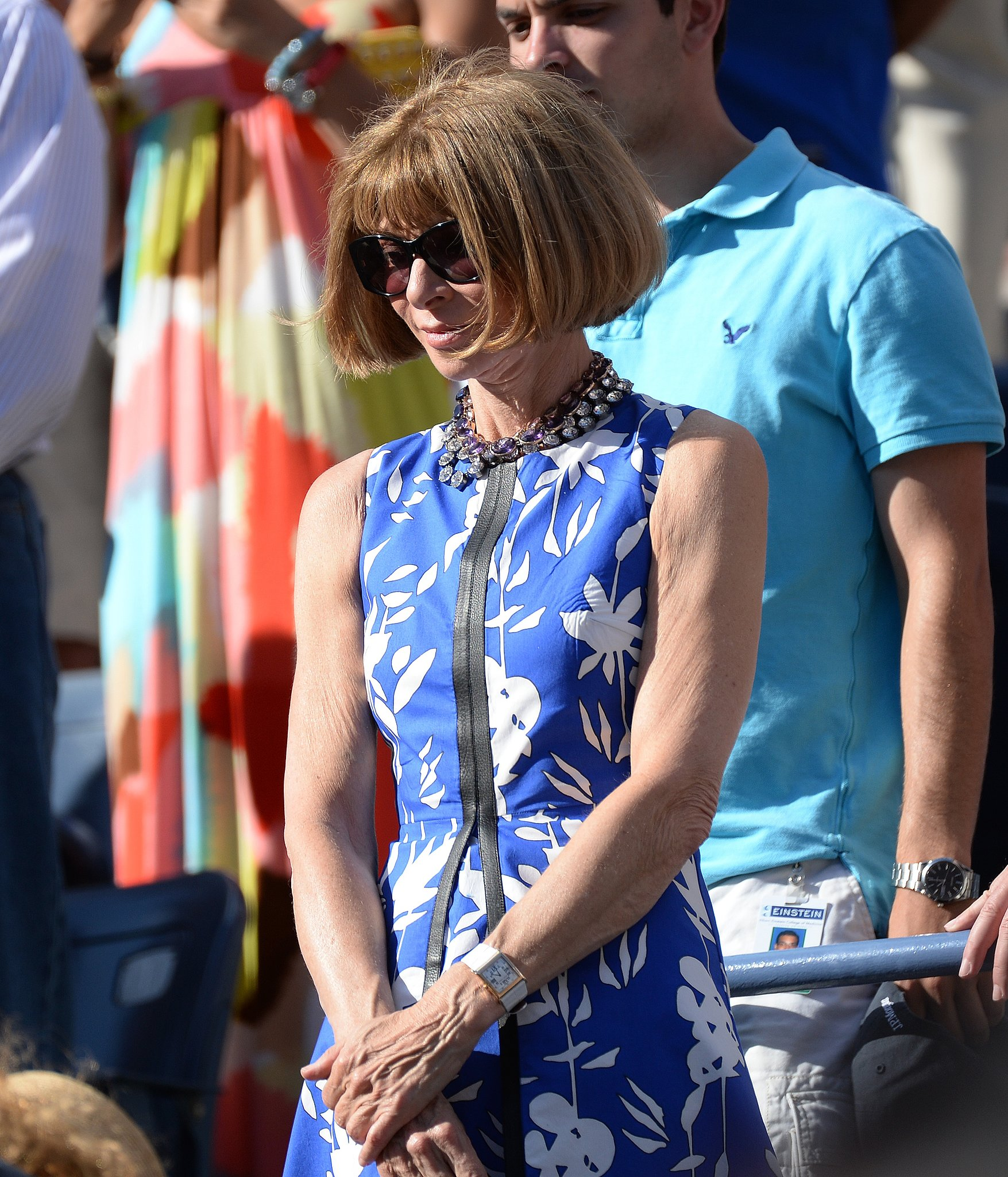 Anna Wintour took a break from New York Fashion Week to take in tennis at the US Open in a blue printed dress. She didn't even bother to change after attending Victoria Beckham's Spring 2014 show, which took place just hours