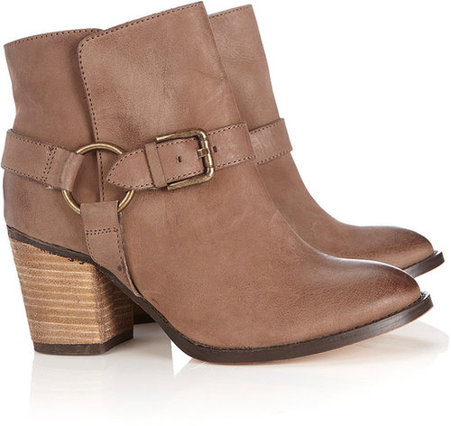 Tan Leather Buckle Ankle Boot