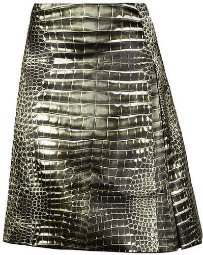Reed Krakoff Alligator-print pleated satin skirt